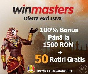 winmasters bonus de bun venit 1500 RON + 50 rotiri gratuite jocuri casino online