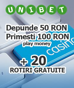 unibet casino - oferta 20 rotiri gratuite la sloturi casino online și dublarea depozitului la jocuri casino