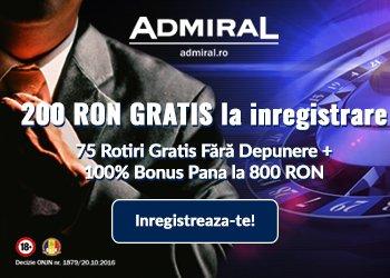 admiral banner bonus fara depunere 200 ron gratis + 75 rotiri gratuite jocuri casino online