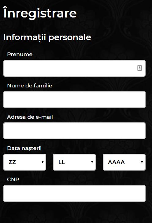 informații personale înregistrare cont maxbet