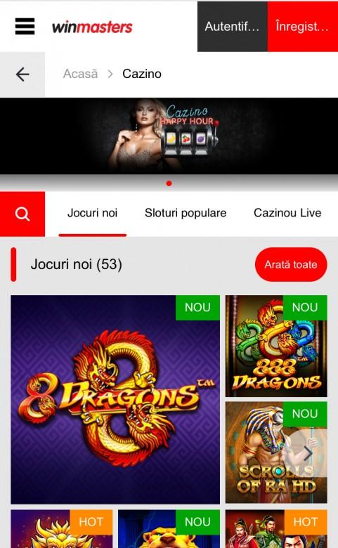 winmasters mobile casino screenshot