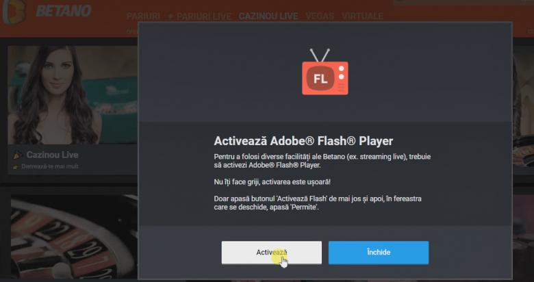 activare flash betano live