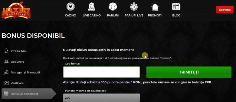 bonusuri disponibile maxbet