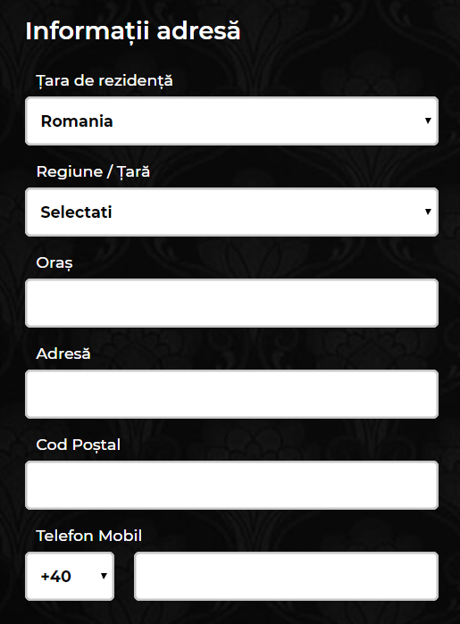 formular înregistrare maxbet - adresă