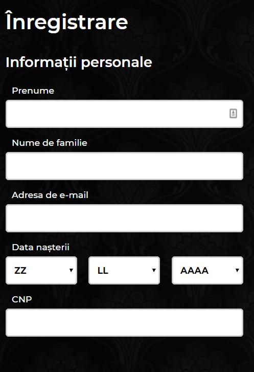 formular înregistrare maxbet - date personale