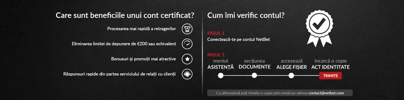 avantaje verificare cont Netbet casino