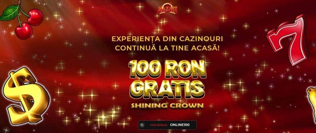 bonus fără depunere sloturi 100 ron gratis shining crown