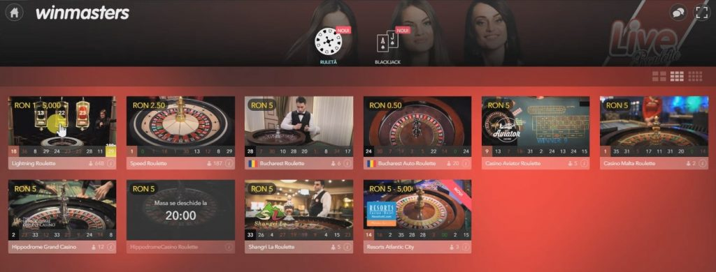 screenshot cu ruleta live casino winmasters