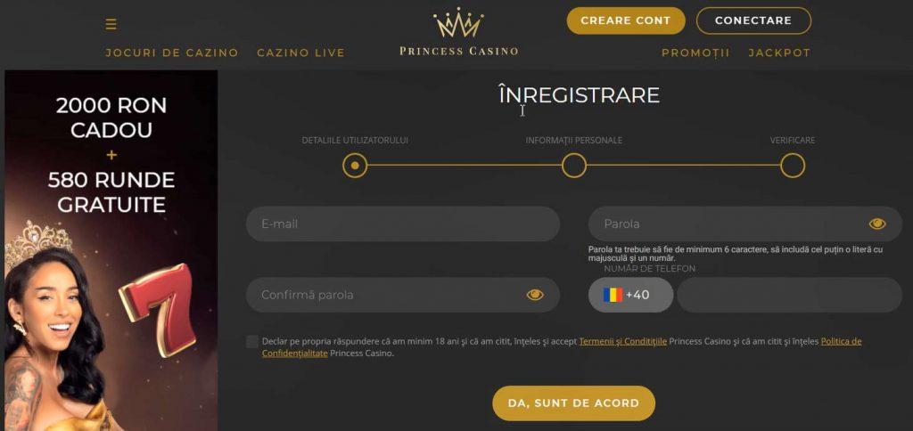 princess casino înregistrare cont jucător