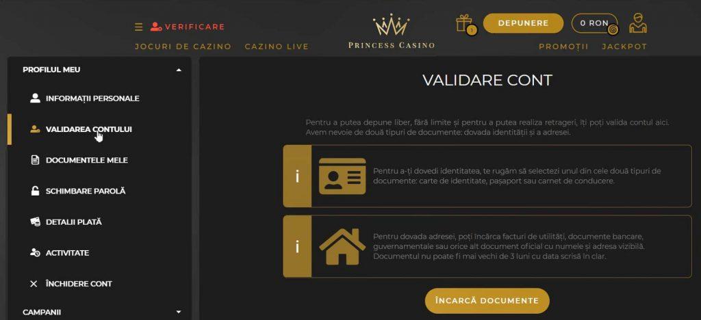 documente validare cont princess casino