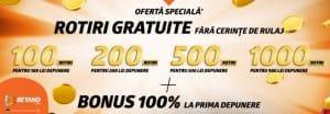 bonus la depunere cu 1000 rotiri gratuite betano