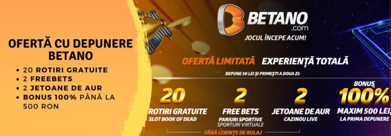 oferta cu depunere si bonus 20 rotiri gratuite betano